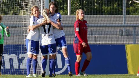 FFC-Spielerinnnen jubeln nach dem Sieg gegen Jena