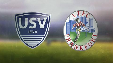 Die Wappen von USV Jena und dem 1.FFC Frankfurt