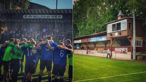 Bilder vom SV Willofs und dem Glockenturm von Würges in einer Collage