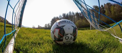 Ein Ball liegt im Tor.