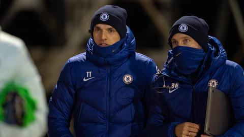 Benjamin Weber und Thomas Tuchel vom FC Chelsea