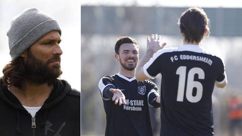 Collage: Trainer Rouven Leopold / Spieler FC Eddersheim