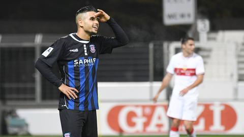 Ilias Soultani bejubelt seinen Treffer zum 1:0 in Stuttgart.