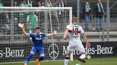 Eintracht-Torhüter Hrvoje Vincek war chancenlos beim 0:1 der Stuttgarter.