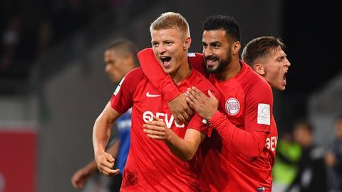 Maik Vetter bejubelt sein Tor zum 2:1 gegen den FSV Frankfurt