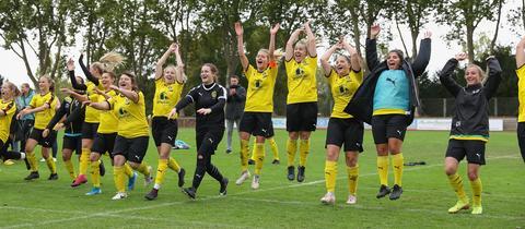 Jubel beim SC Rüsselsheim über den Sieg in der ersten Pokalrunde