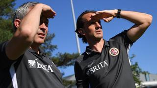 Christian Hock und Rüdiger Rehm vom SV Wehen Wiesbaden