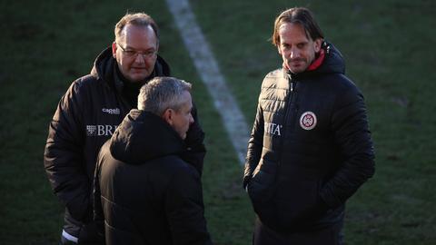 Nico Schäfer, Christian Hock und Rüdiger Rehm vom SV Wehen Wiesbaden