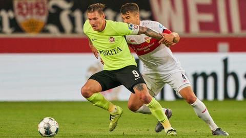 Manuel Schäffler vom SV Wehen Wiesbaden im Spiel beim VfB Stuttgart