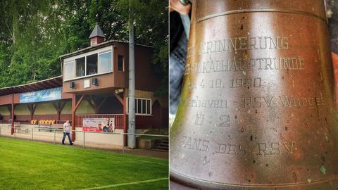 Die Glocke und der Glockenturm im Stadion von Würges