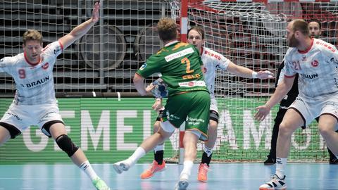 Eine Spielszene aus dem Saisonvorbereitungsspiel 2020 MT Melsungen gegen HSG Wetzlar.