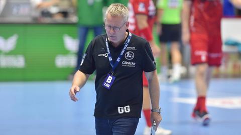 MT-Trainer Gudmundur Gudmundsson ist nach der Niederlage gegen Berlin enttäuscht