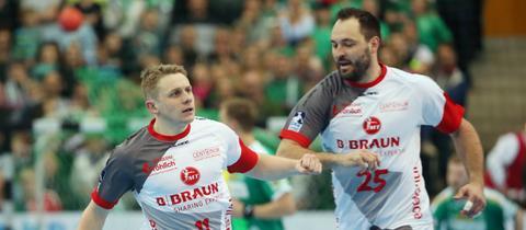 Dimitri Ignatow und Michael Müller von der MT Melsungen.