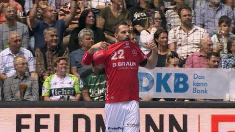 Michael Allendorf von der MT Melsungen im Spiel bei der HSG Wetzlar