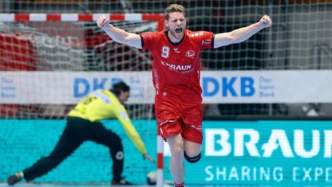 Tobias Reichmann schreit seine Freude über einen seiner zahlreichen Treffer heraus.