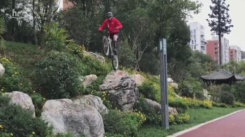 Wolfgang Wenzel bei der Rad-Trial-WM in China