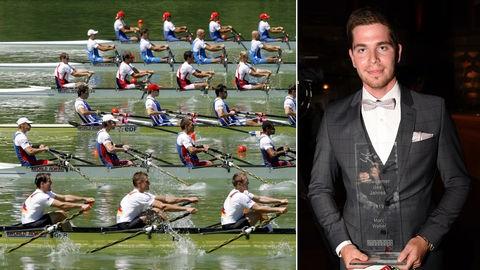 Kombo: Marc Weber bei seiner Ehrung als Hessens Sportler des Jahres 2019, mehrere Ruderboote bei einem Wettkampf.