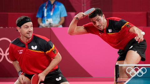 Timo Boll und Patrick Franziska beim Viertelfinal-Doppel gegen Taiwan.