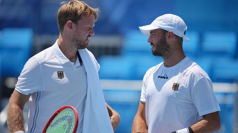 Tim Pütz und Kevin Krawietz bei ihrem Erstrunden-Spiel in Tokio
