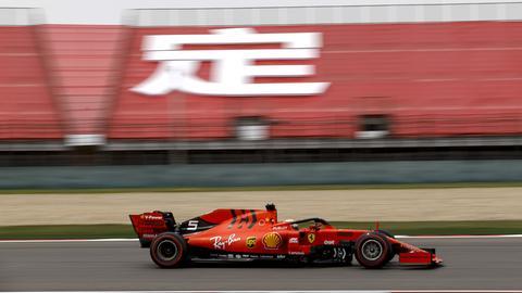 Sebastian Vettel in seinem Ferrari beim Qualifying in China