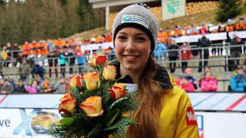 Anna Fernstädt nach einem Rennen in Altenberg