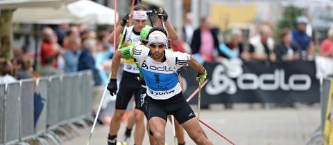Martin Fourcade beim City-Biathlon in Püttlingen