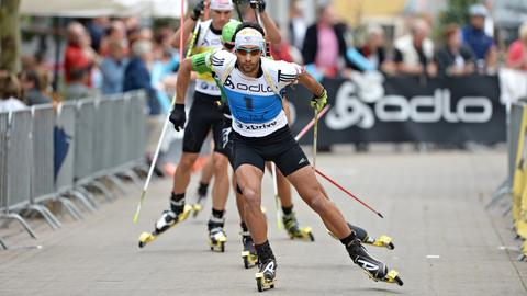 Martin Fourcade beim City-Biathlon in Püttlingen