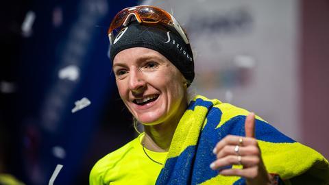 Katharina Steinruck beim Frankfurt Marathon 2018