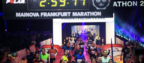 Zieleinlauf beim Frankfurt Marathon 2018