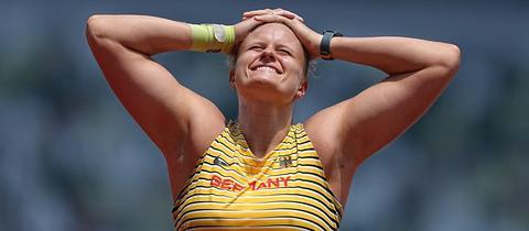Sara Gambetta beim Finale im Kugelstoßen bei Olympia