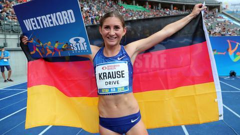 Gesa Krause feiert ihren Weltrekord