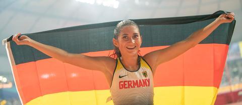 Gesa Krause nach Bronze-Gewinn bei der WM 2019 in Droha
