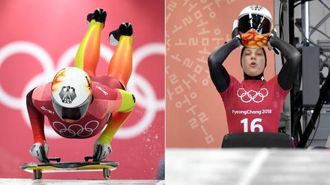 Collage: Anna Fernstädt und Tina Hermann bei den Olympischen Spielen