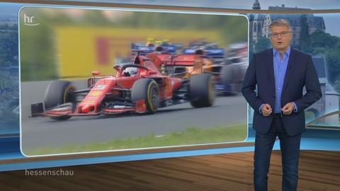 Der Formel-1-Bericht wird im hessenschau-Studio angekündigt.