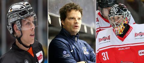Ein Spieler der Löwen, der Trainer der Kassel Huskies und der Keeper des EC Bad Nauheim