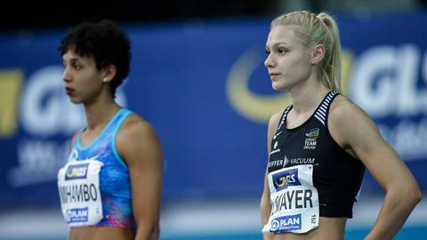 Mailaka Mihambo (li.) und Lisa Mayer sind in Frankfurt dabei.