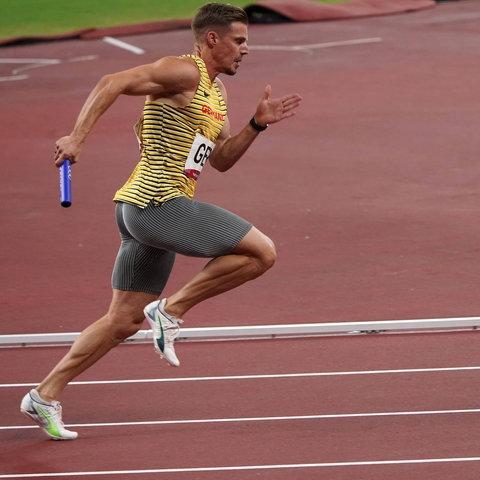 Julian Reus bei der 4x100-Meter-Staffel in Tokio