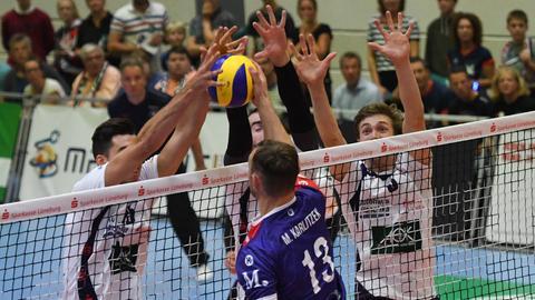 Eine Szene aus dem Spiel der United Volleys Frankfurt in Lüneburg