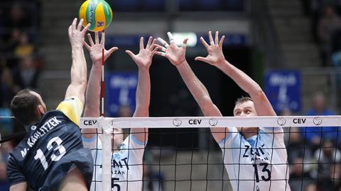 Eine Szene aus dem Spiel der United Volleys gegen Kazan
