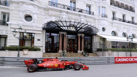 Sebastian Vettel auf der Strecke in Monaco