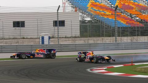 Der Crash der beiden Red Bull von Mark Webber und Sebastian Vettel im Jahr 2010.