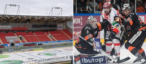 Collage: Eisfläche im Stadion, Szene aus einem Derby
