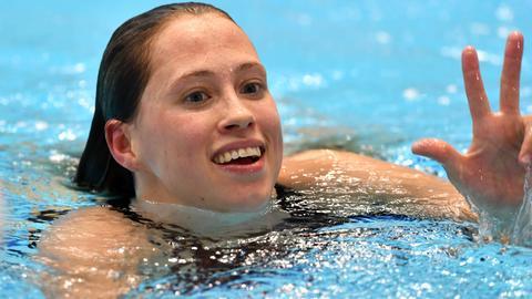 Die Frankfurterin Sarah Köhler freut sich über einen neuen Rekord.