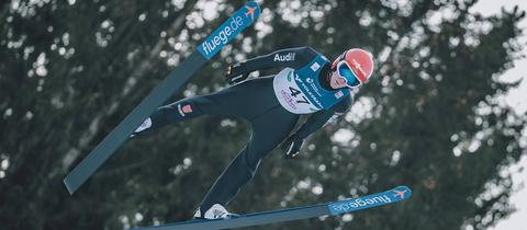 Stephan Leyhe beim Skifliegen am Kulm