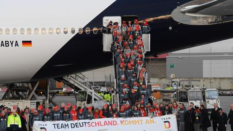 Ankunft des Olympia-Teams in Frankfurt