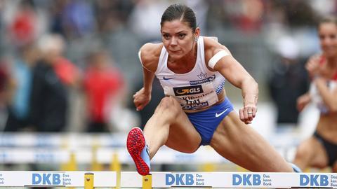 Pamela Dutkiewicz gewann bei der Leichtathletik-DM in Nürnberg das Finale über 100 Meter Hürden.