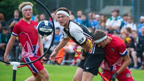 Spielszene der Quidditch-WM in Frankfurt