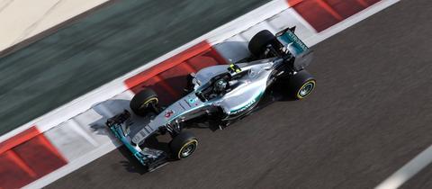 Aufnahme von Nico Robergs Formel-1-Wagen aus der Vogelperspektive