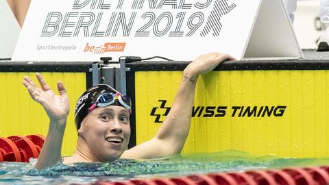 Sarah Köhler beim der Deutschen Meisterschaft im Schwimmen.