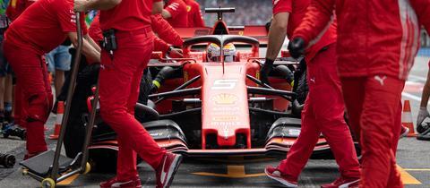 Der Ferrari von Sebastian Vettel machte im Qualifying von Hockenheim schlapp.